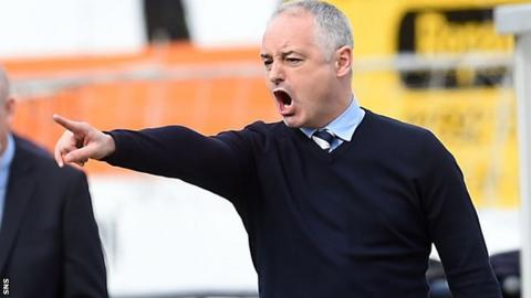 Raith manager Ray McKinnon makes a point to his players