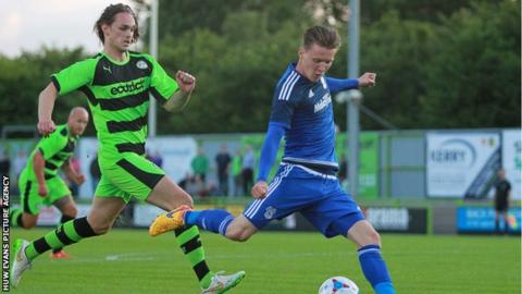 Joe Mason (R) fires Cardiff City ahead at Forest Green Rovers