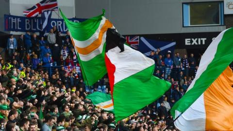 Celtic and Rangers fans at Ibrox
