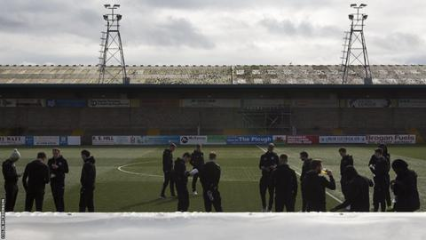 The City players on the pitch prior to the match against the the SPFL League 2 leaders