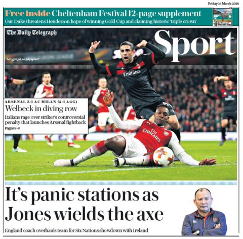 Telegraph sport section on Thursday