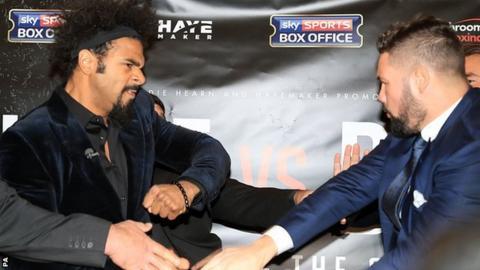 David Haye swings a punch at Tony Bellew