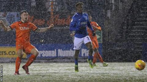 James Collins puts Luton 1-0 up against Portsmouth