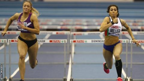 Megan Marrs (left) made a major breakthrough by winning the British Indoor 60m hurdles title last weekend