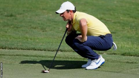 McIlroy missed a putt for birdie on the last which would have moved him into a share of the lead