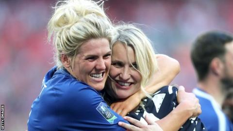 Millie Bright celebrates with Chelsea Women boss Emma Hayes