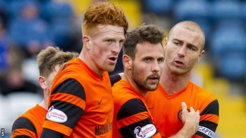 Dundee United celebrate the winner by Tony Andreu (centre)