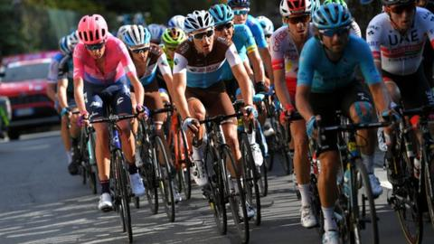 Hugh John Carthy of United Kingdom and Team EF Education First / Clement Champoussin of France and Team Ag2R La Mondiale / Nans Peters of France and Team Ag2R La Mondiale / Andrey Zeits of Kazakhstan and Astana Pro Team / Carlos Verona Quintanilla of Spain and Movistar Team / Nicolas Edet of France and Team Cofidis Solutions Credits / Manuele Boaro of Italy and Astana Pro Team / Daniel Martin of Ireland and UAE - Team Emirates / during the 103rd Giro del Piemonte 2019 a 183km race from Agliè to Santuario di Oropa - Biella 1142m / @GranPiemonte / #GranPiemonte / on October 10, 2019 in Biella, Italy.