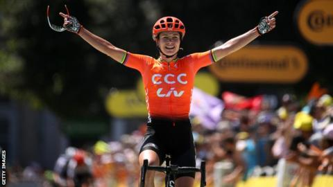 Marianne Vos celebrates after winning La Course 2019
