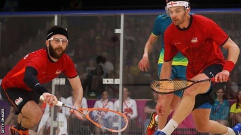 Daryl Selby and Adrian Waller in action at the Commonwealth Games