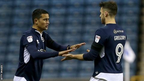 Millwall forward Tim Cahill comes on as a substitute for Lee Gregory against Cardiff