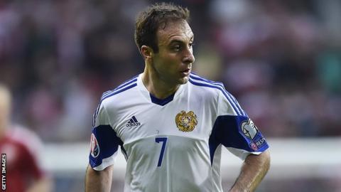 Artur Yedigaryan in action for Armenia against Denmark