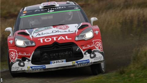 Kris Meeke and co-driver Paul Nagle in their Team Citreon DS3 WRC during Wales Rally GB