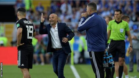 Jorge Sampaoli shouts instructions from the dug-out