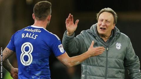 Neil Warnock congratulates scorer Joe Ralls after Cardiff City's 1-0 win over Aston Villa