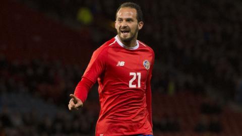 Marco Urena celebrates