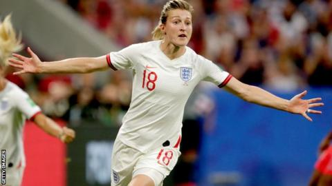 Ellen White celebrating at the World Cup