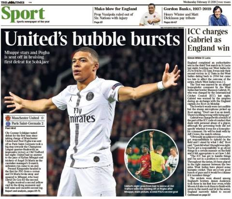 Times back page on Wednesday