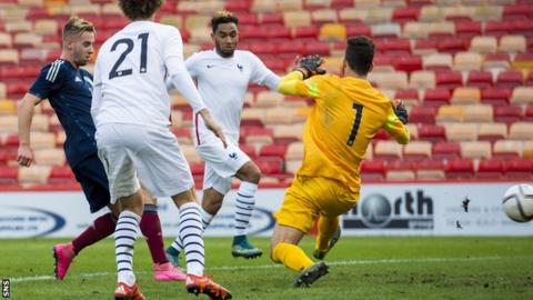 Billy King scores for Scotland Under-21s against France
