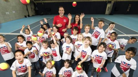 Greg Rusedski and Annabel Croft launch Tennis for Kids with some children