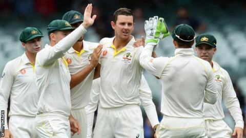 Josh Hazlewood of Australia celebrates after dismissing Kannanur Lokesh Rahul of India during day three of the first Test in Adelaide