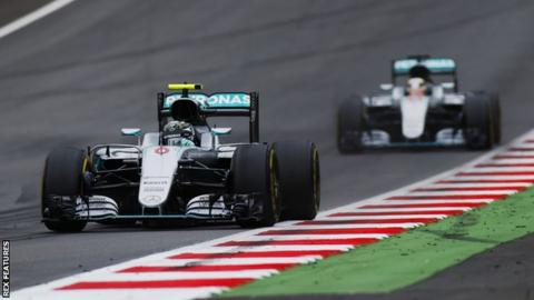 Mercedes F1 driver Nico Rosberg and Lewis Hamilton