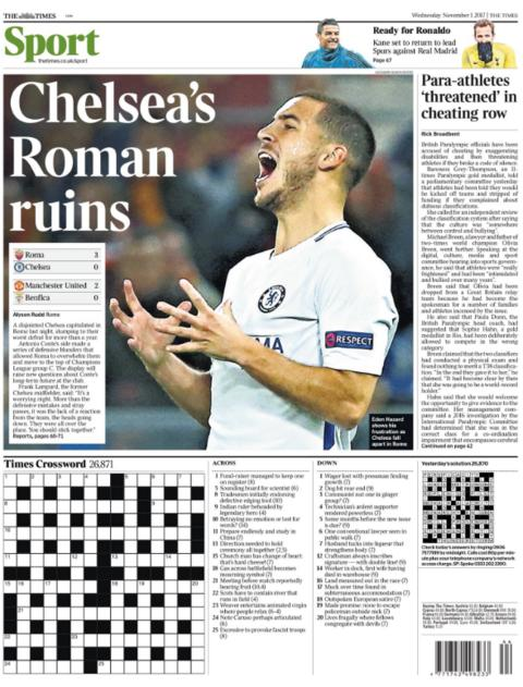 The Times' back page on Wednesday