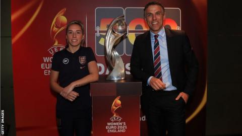 Jordan Nobbs and Phil Neville at the 500 days to Euro 2021 event at Wembley