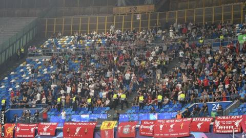 Liverpool fans inside Napoli's San Paolo Stadium