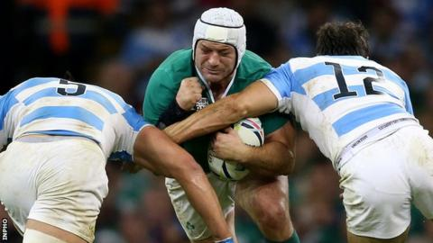 Rory Best in action against Argentina in the 2015 World Cup