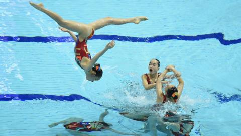 Hiroshima club compete during the Team Technical Routine Final at the Tokyo Tatsumi International Swimming Center