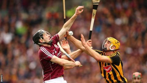 Galway defender Padraig Mannion clashes with Kilkenny's Colin Fennelly