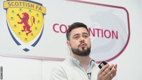 Robert Rowan addressing the SFA convention at Hampden