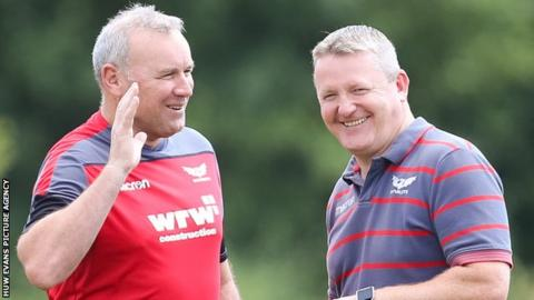 Jon Daniels (right) with former Scarlets head coach Wayne Pivac, now in charge of Wales