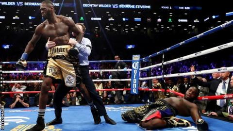 Deontay Wilder had to be pulled away by the referee after knocking out Stiverne