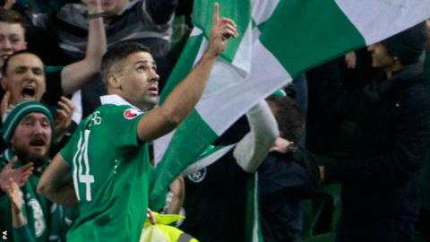Republic of Ireland's Jon Walters celebrates scoring against Bosnia-Herzegovina