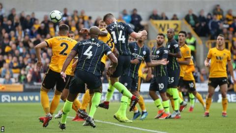 Aymeric Laporte equalises for Manchester City at Wolves