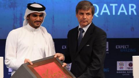 Qatar 2022 bid Chairman Sheikh Mohammed bin Khalifa Al Thani with Harold Mayne-Nicholls