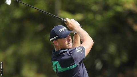 Matt Wallace plays his second shot on the 14th hole during the second round of the Players Championship at Sawgrass