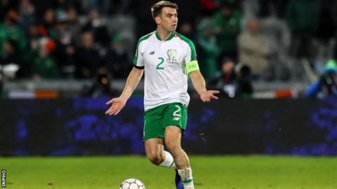 Republic skipper Seamus Coleman pleads in vain for an attacking outlet in Aarhus