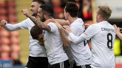 Ayr United celebrate their opening goal