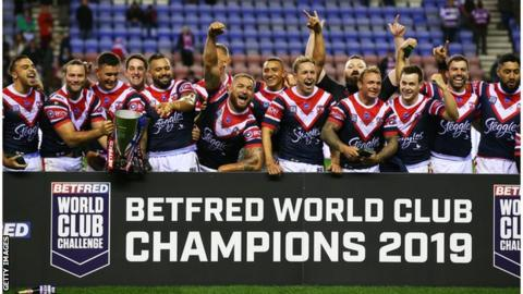 Sydney Roosters celebrate World Club Challenge win