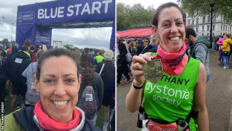 Bethany Perry before (left) and after (right) the 2019 London Marathon