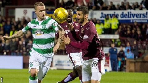 Hearts in action against Celtic at Tynecastle