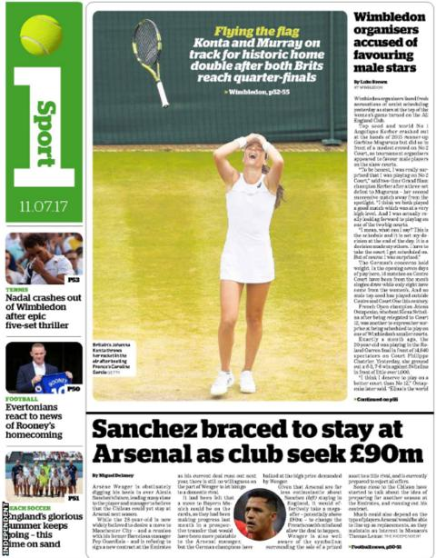 The Independent covers Alexis Sanchez being likely to stay at Arsenal