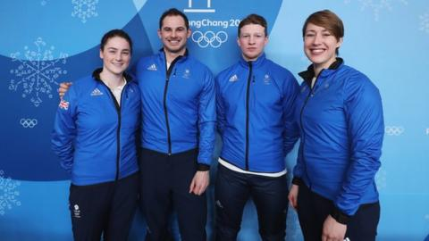 (left to right) Laura Deas, Dominic Parsons, Jerry Rice and Lizzy Yarnold