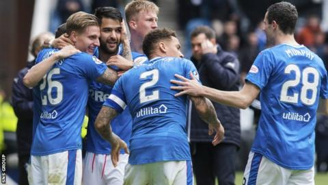 Rangers beat Hearts 2-1 at Ibrox to return to second place in the Premiership