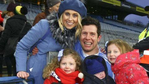 Sean Cavanagh of Moy celebrates with his wife Fionnula and kids, Eva, Clara and Sean Og