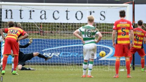 Partick Thistle's Sean Welsh scores his penalty against Celtic