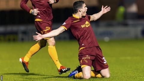 Jake Hastie celebrates a Motherwell goal